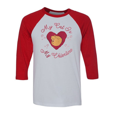 teelaunch T-shirt Canvas Unisex 3/4 Raglan / White/Red / S My Cat Is My Valentine Unisex Raglan