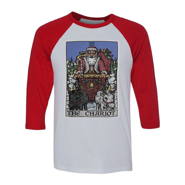teelaunch T-shirt Canvas Unisex 3/4 Raglan / White/Red / S The Chariot - Christmas Edition Raglan