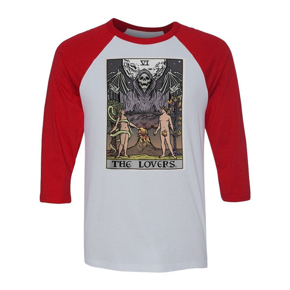 teelaunch T-shirt Canvas Unisex 3/4 Raglan / White/Red / S The Lovers Tarot Card Raglan