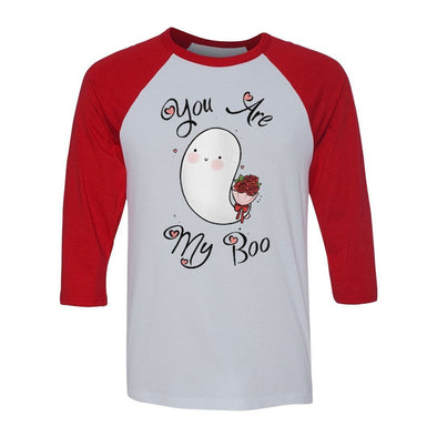 teelaunch T-shirt Canvas Unisex 3/4 Raglan / White/Red / S You Are My Boo Raglan