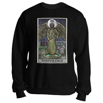 teelaunch T-shirt Crewneck Sweatshirt / Black / S Temperance Tarot Card - Ghoulish Edition Unisex Sweatshirt
