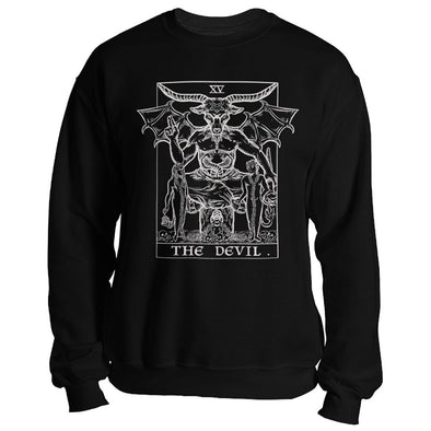 teelaunch T-shirt Crewneck Sweatshirt / Black / S The Devil Monochrome Tarot Card - Ghoulish Edition Unisex Sweatshirt