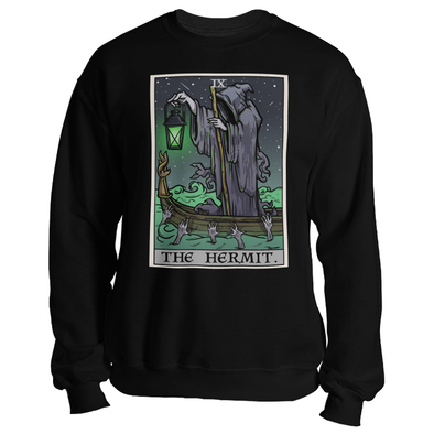 teelaunch T-shirt Crewneck Sweatshirt / Black / S The Hermit Tarot Card - Ghoulish Edition Unisex Sweatshirt