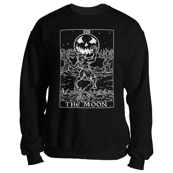 teelaunch T-shirt Crewneck Sweatshirt / Black / S The Moon Monotone Tarot Card - Ghoulish Edition Unisex Sweatshirt