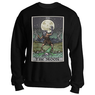 teelaunch T-shirt Crewneck Sweatshirt / Black / S The Moon Tarot Card Unisex Sweatshirt