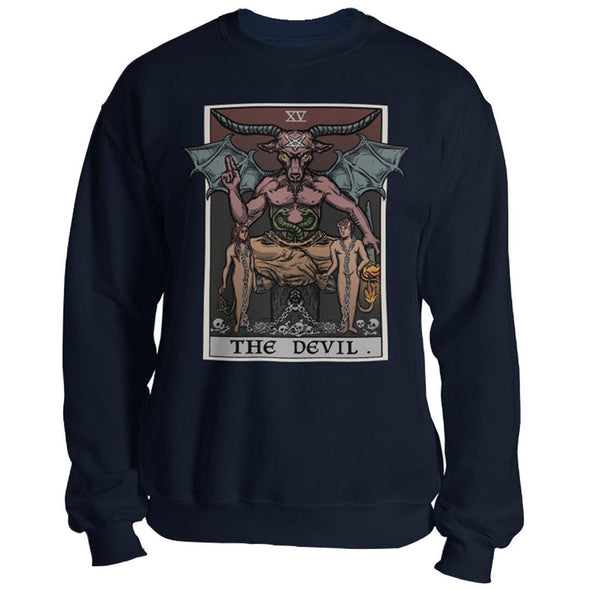 teelaunch T-shirt Crewneck Sweatshirt / Navy / S The Devil Tarot Card Unisex Sweatshirt