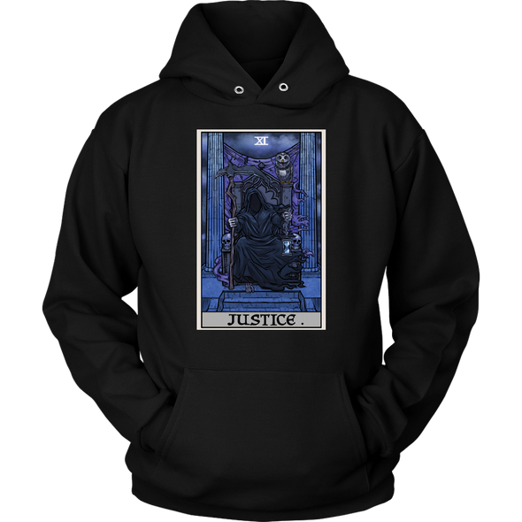 teelaunch T-shirt Unisex Hoodie / Black / S Justice Tarot Card - Ghoulish Edition Unisex Hoodie