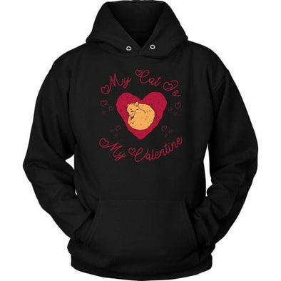 teelaunch T-shirt Unisex Hoodie / Black / S My Cat Is My Valentine Unisex Hoodie