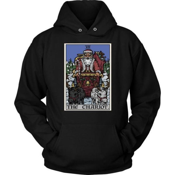 teelaunch T-shirt Unisex Hoodie / Black / S The Chariot Tarot Card - Christmas Edition Unisex Hoodie