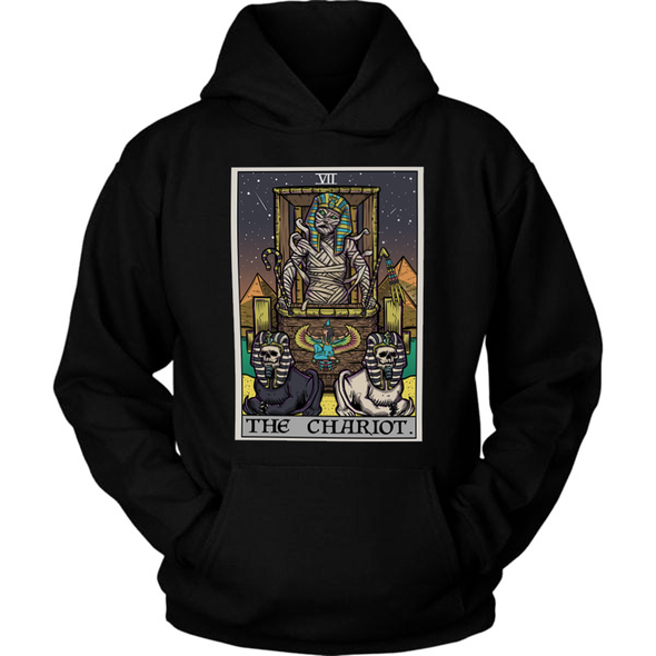teelaunch T-shirt Unisex Hoodie / Black / S The Chariot Tarot Card - Ghoulish Edition Unisex Hoodie