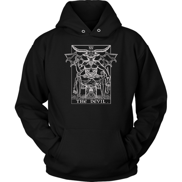 teelaunch T-shirt Unisex Hoodie / Black / S The Devil Monochrome Tarot Card - Ghoulish Edition Unisex Hoodie