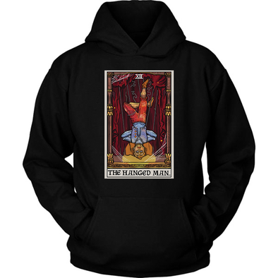 teelaunch T-shirt Unisex Hoodie / Black / S The Hanged Man Tarot Card- Ghoulish Edition Unisex Hoodie