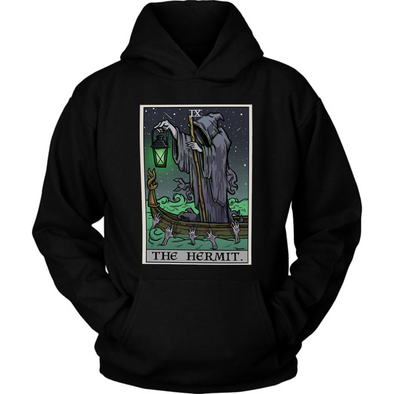 teelaunch T-shirt Unisex Hoodie / Black / S The Hermit Tarot Card - Ghoulish Edition Unisex Hoodie