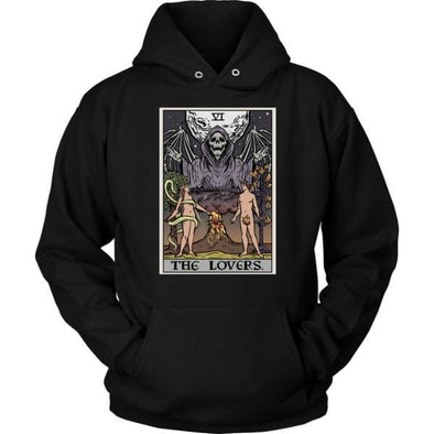 teelaunch T-shirt Unisex Hoodie / Black / S The Lovers Tarot Card - Ghoulish Edition Hoodie