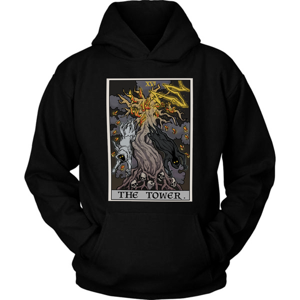 teelaunch T-shirt Unisex Hoodie / Black / S The Tower Tarot Card - Ghoulish Edition Unisex Hoodie