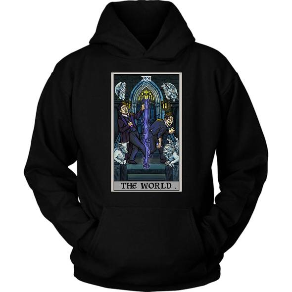 teelaunch T-shirt Unisex Hoodie / Black / S The World Tarot Card - Ghoulish Edition Hoodie
