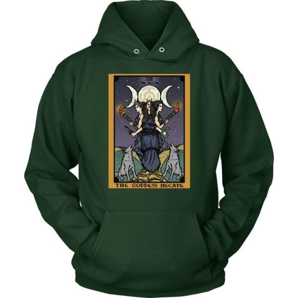 teelaunch T-shirt Unisex Hoodie / Dark Green / S The Goddess Hecate In Tarot Unisex Hoodie