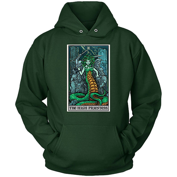 teelaunch T-shirt Unisex Hoodie / Dark Green / S The High Priestess Tarot Card - Ghoulish Edition Unisex Hoodie