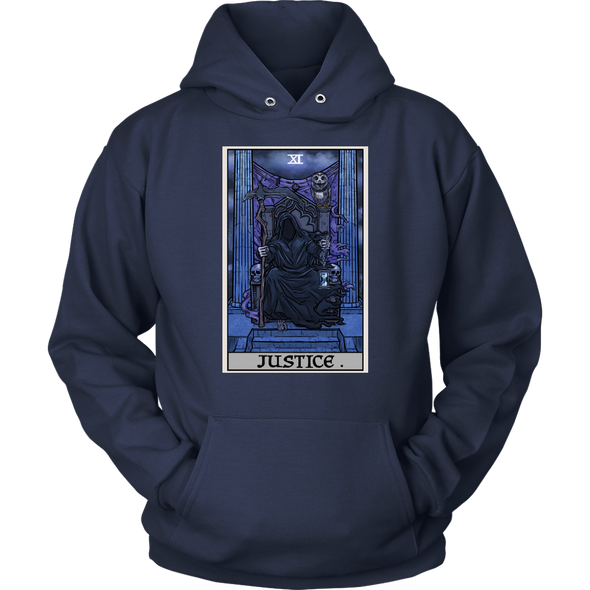 teelaunch T-shirt Unisex Hoodie / Navy / S Justice Tarot Card - Ghoulish Edition Unisex Hoodie
