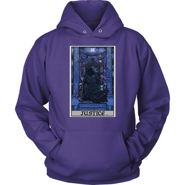 teelaunch T-shirt Unisex Hoodie / Purple / S Justice Tarot Card - Ghoulish Edition Unisex Hoodie