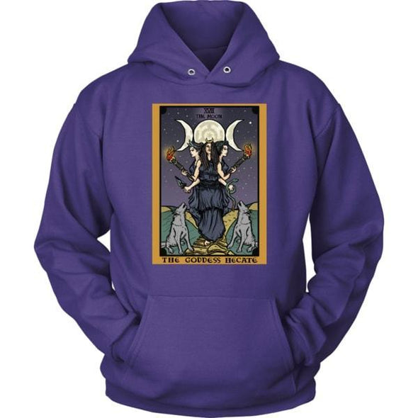 teelaunch T-shirt Unisex Hoodie / Purple / S The Goddess Hecate In Tarot Unisex Hoodie