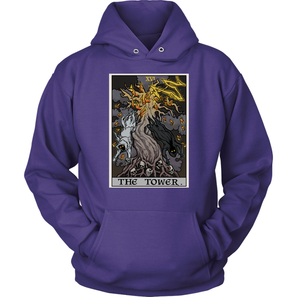 teelaunch T-shirt Unisex Hoodie / Purple / S The Tower Tarot Card - Ghoulish Edition Unisex Hoodie