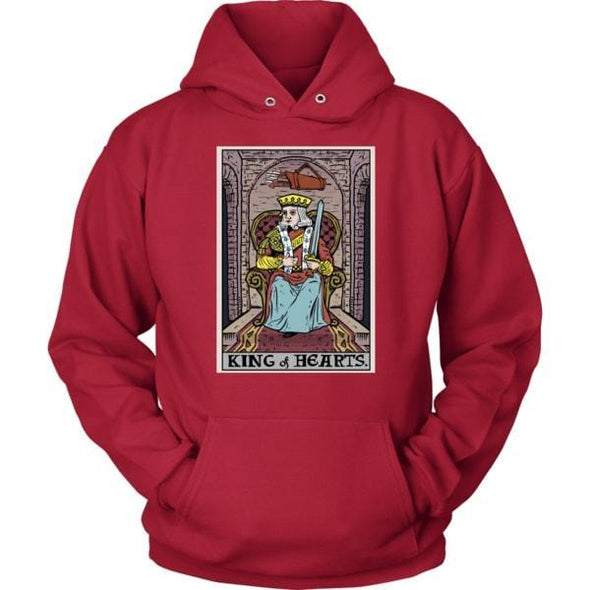 teelaunch T-shirt Unisex Hoodie / Red / S King of Hearts In Tarot Unisex Hoodie