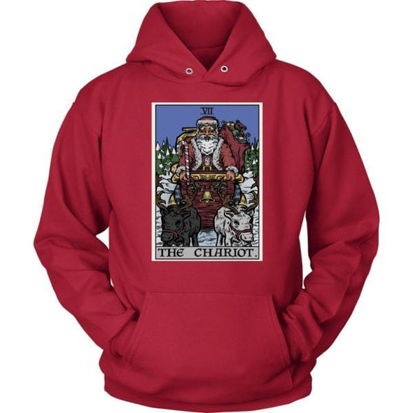 teelaunch T-shirt Unisex Hoodie / Red / S The Chariot Tarot Card - Christmas Edition Unisex Hoodie