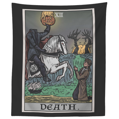 "teelaunch Tapestries 60"" x 50"" Death Tarot Card - Ghoulish Edition Tapestry"