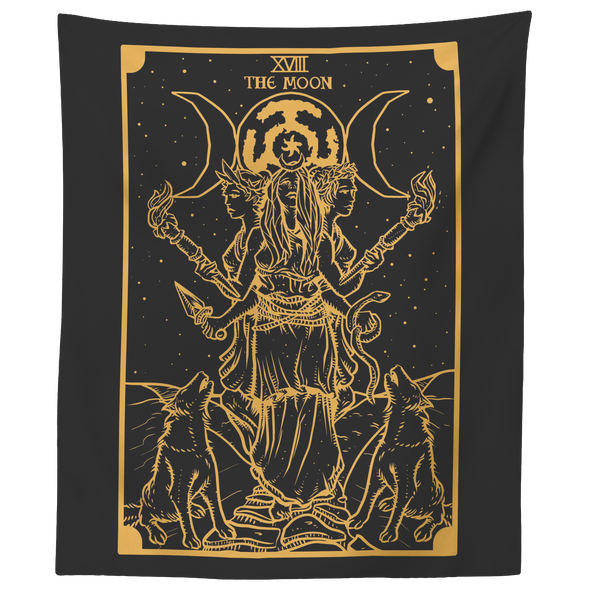 "teelaunch Tapestries 60"" x 50"" Gold Goddess Hecate Tarot Card Tapestry"