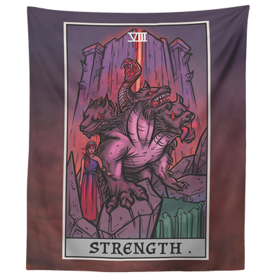 "teelaunch Tapestries 60"" x 50"" Strength Tarot Card - Ghoulish Edition Tapestry"