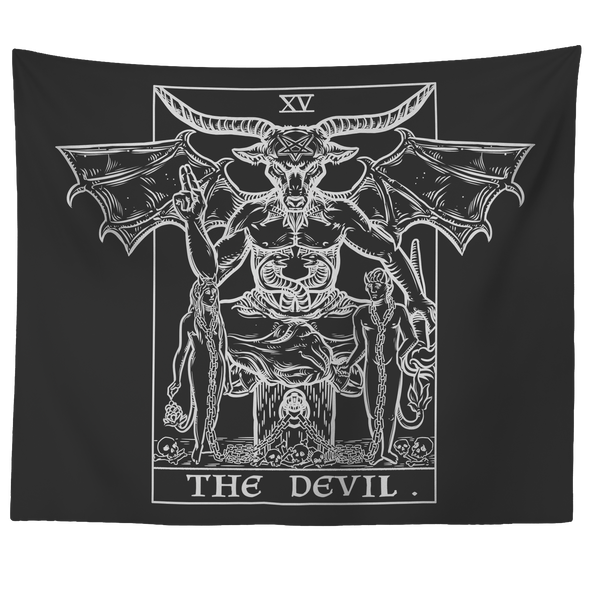"teelaunch Tapestries 60"" x 50"" The Devil Monochrome Tarot Card - Ghoulish Edition Tapestry"