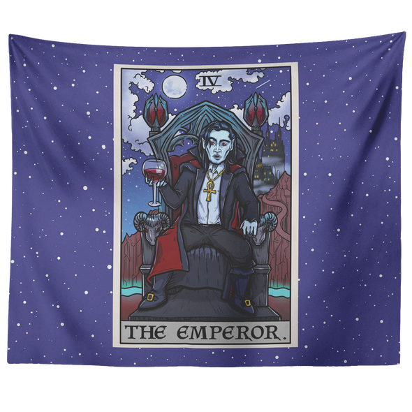 "teelaunch Tapestries 60"" x 50"" The Emperor Tarot Card - Ghoulish Edition Tapestry"