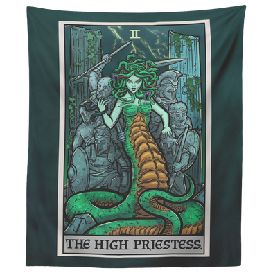 "teelaunch Tapestries 60"" x 50"" The High Priestess Tarot Card - Ghoulish Edition Tapestry"