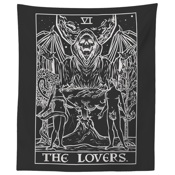 "teelaunch Tapestries 60"" x 50"" The Lovers Monochrome Tarot Card - Ghoulish Edition Tapestry"