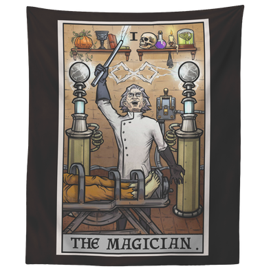"teelaunch Tapestries 60"" x 50"" The Magician Tarot Card - Ghoulish Edition Tapestry"