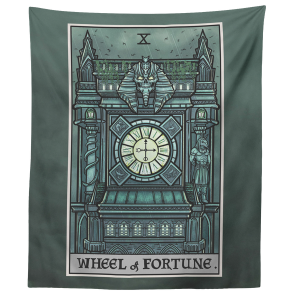 "teelaunch Tapestries 60"" x 50"" Wheel of Fortune Tarot Card - Ghoulish Edition Tapestry"