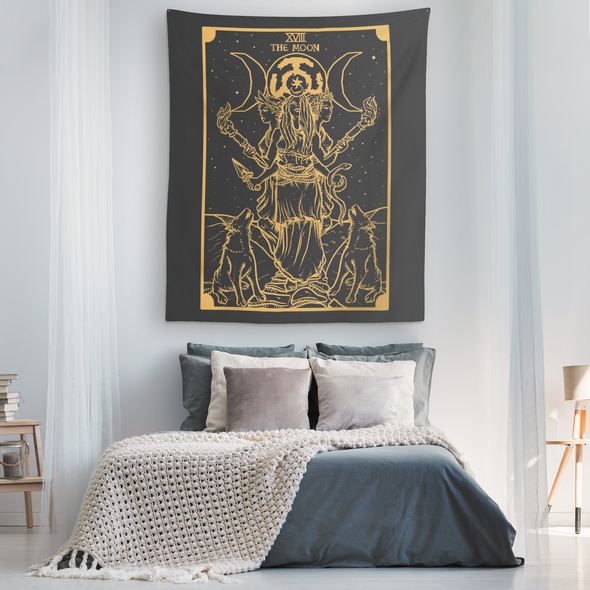 teelaunch Tapestries Gold Goddess Hecate Tarot Card Tapestry