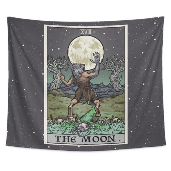 "teelaunch Tapestries Tapestry - 60"" x 51"" The Moon Tarot Card - Ghoulish Edition Tapestry"