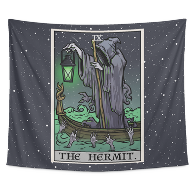 "teelaunch Tapestries Tapestry - 80"" x 68"" The Hermit Tarot Card - Ghoulish Edition Tapestry"