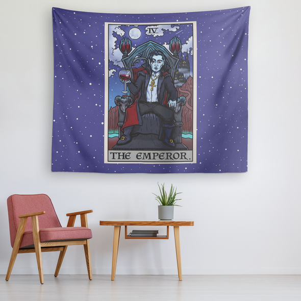 teelaunch Tapestries The Emperor Tarot Card - Ghoulish Edition Tapestry