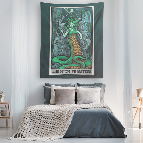 teelaunch Tapestries The High Priestess Tarot Card - Ghoulish Edition Tapestry