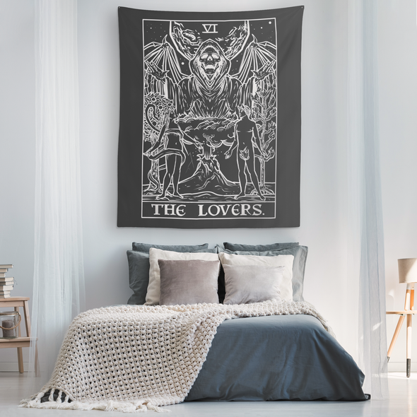 teelaunch Tapestries The Lovers Monochrome Tarot Card - Ghoulish Edition Tapestry