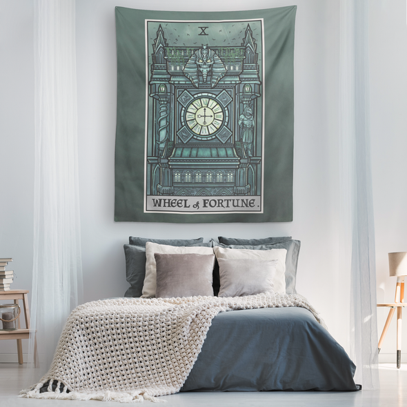 teelaunch Tapestries Wheel of Fortune Tarot Card - Ghoulish Edition Tapestry