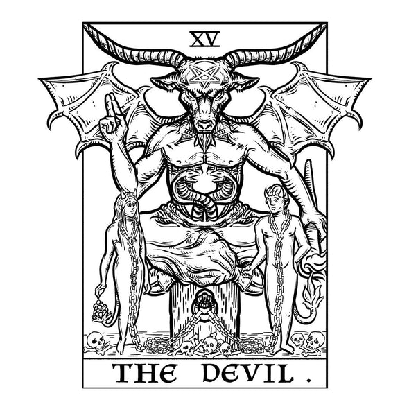 The Ghoulish Garb Design The Devil Monochrome Tarot Card - Ghoulish Edition