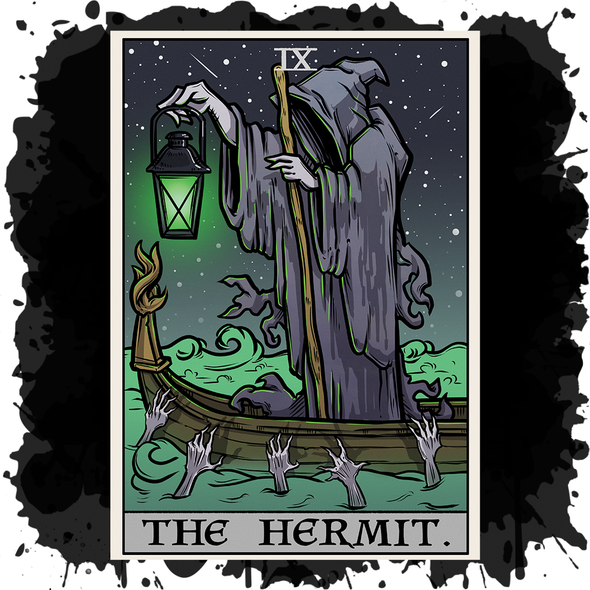 The Ghoulish Garb Design The Hermit Tarot Card - Ghoulish Edition