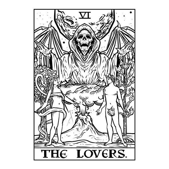 The Ghoulish Garb Design The Lovers Monochrome Tarot Card - Ghoulish Edition