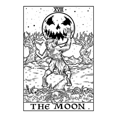 The Ghoulish Garb Design The Moon Monotone Tarot Card - Ghoulish Edition