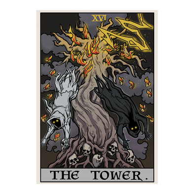 The Ghoulish Garb Design The Tower Tarot Card - Ghoulish Edition