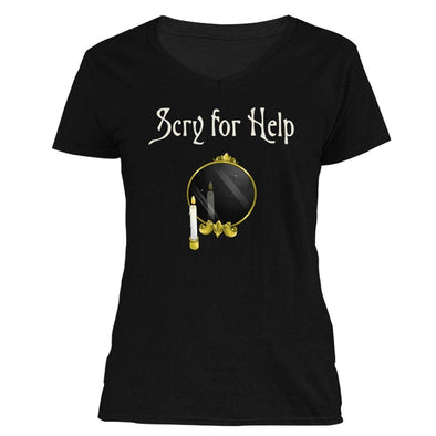 The Ghoulish Garb S Scry for Help Women's V-Neck